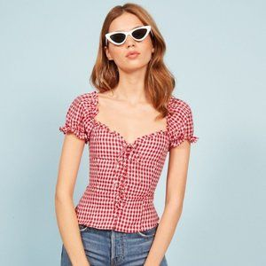 Reformation Red Gingham Cassidy Top